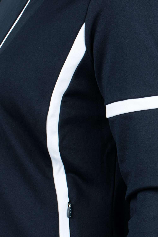 blauw dames vest met witte strepen