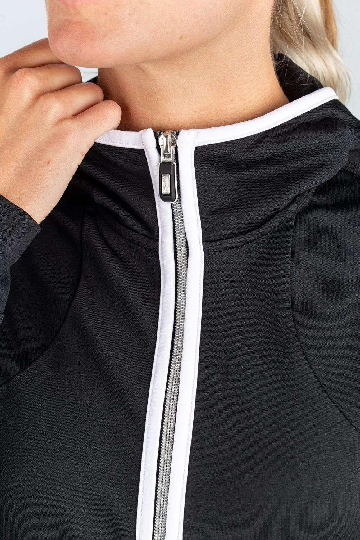 dames zwart vest wit details