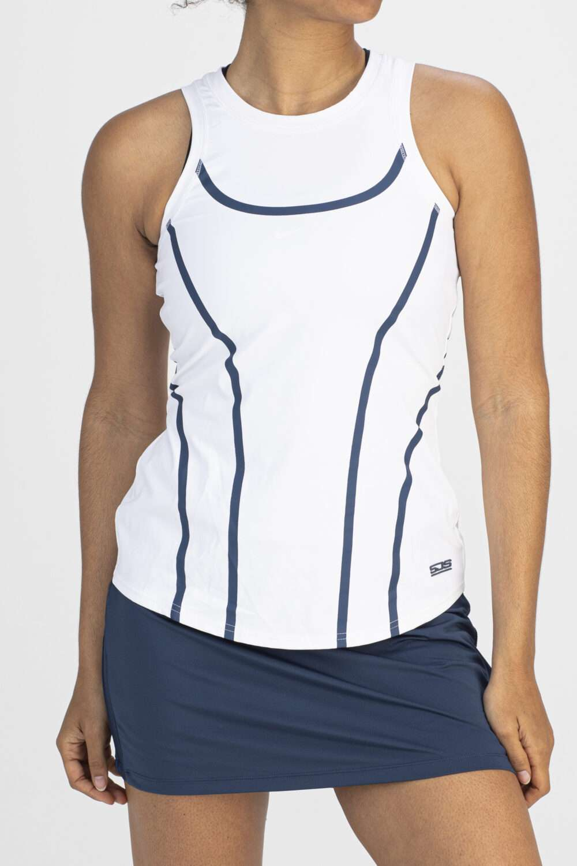 Sportief dames shirt wit gestreept